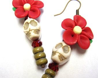 Day of the Dead Earrings Sugar Skulls Red Daises Flower Dangle