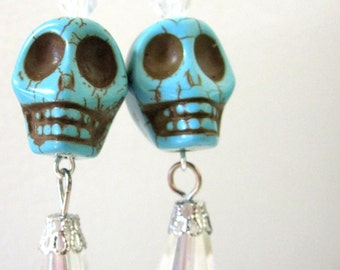 Day of the Dead Earrings Sugar Skull Jewelry Crystal Turquoise Blue