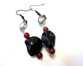 Sugar Skull Earrings Day Of The Dead Black Red