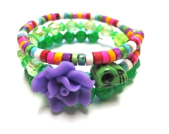 Day of The Dead Bracelet Sugar Skull Cuff Green Pink Purple