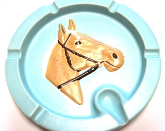 Horse Ashtray Palomino Western Baby Blue