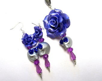 Day of the Dead Earrings Necklace Pendant Sugar Skull Silver Purple Rose Gift Set