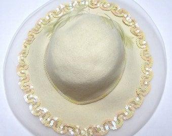 Cream Ivory Wool Hat Wide Brim