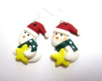 Snowman Earrings Holiday Christmas Xmas Winter