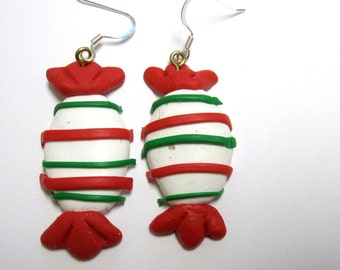Red White Green Candy Earrings Christmas Holiday Winter Xmas Jewelry