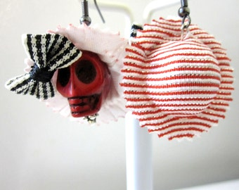 Day of the Dead Earrings Sugar Skull Jewelry Red Black White Hat Bow