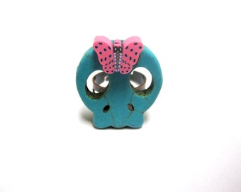 Sugar Skull Ring Day Of The Dead Turquoise Blue Hot Pink Butterfly