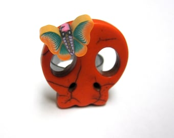 Sugar Skull Ring Day Of The Dead Jewelry Orange Butterfly