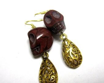 Chocolate Brown Sugar Skull Earrings & Gold-toned Filigree Dangles
