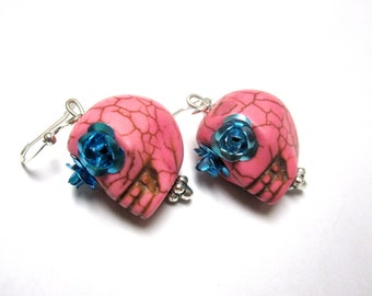 Pink Sugar Skull Earrings Day of the Dead Jewelry Skull Earrings Gothic Jewelry