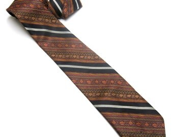 Wembley Necktie Rust Orange Black Tie Vintage