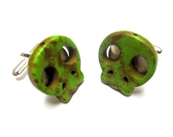 Day Of The Dead Cufflinks Sugar Skull Wedding Accessory Groomsmen Gift Cuff Links Zombie Green