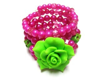 Day of the Dead Bracele Sugar Skull Wrap Around Cuff Hot Pink Lime Green Rose