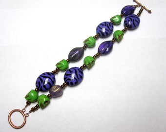 Day Of The Dead Bracelet Sugar Skull 2 Strand Purple Green