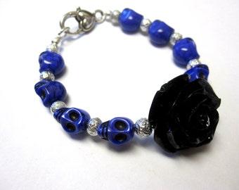Purple Sugar Skull Bracelet Black Rockabilly Rose Day of the Dead Jewelry