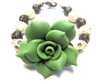 Day of the Dead Sugar Skull Bracelet Green Rose White