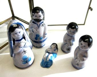 Mexican Nativity Set Jalisco Tonala Blue Ceramic 6 pc. Christmas Decor Holiday Collectible