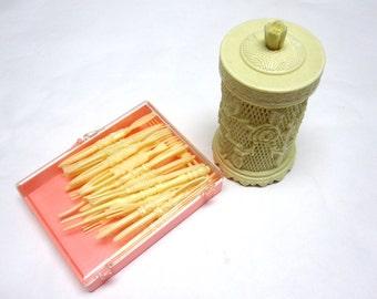 Vintage Celluloid Appetizer Fork Holder Mock Ivory Rose Latticework Plus Bonus Set Shrimp