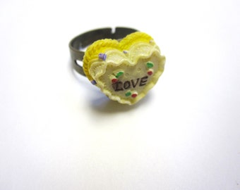 Yellow Cake LOVE Ring Adjustable