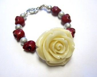 Red Sugar Skull Bracelet Day of the Dead Jewelry Ivory Rose