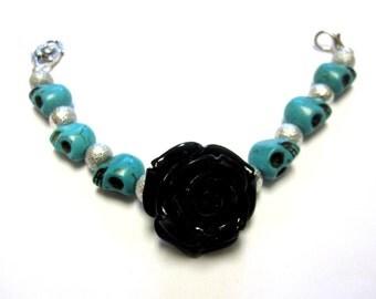Day of The Dead Bracelet Sugar Skull Strand Rose Black Blue Silver