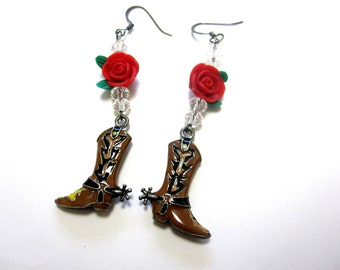Cowboy Boot Earrings Cowgirl Bling Western Jewelry Spurs Red Roses Enamel 3D Charm