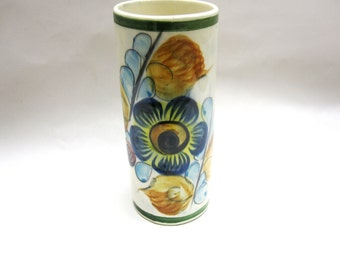 Vase Handmade Pottery Green Blue Brown Floral Signed Mexico