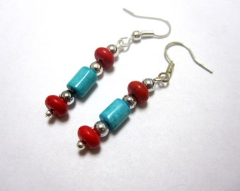 Cowgirl Earrings Western Turquoise Blue Red Stone Bling