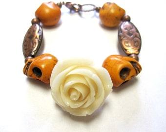 Day of the Dead Sugar Skull Bracelet Rose Mustard Yelllow Copper Ivory