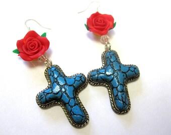 Cross Rose Earrings Turquoise Blue Red