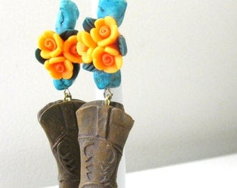 Cowboy Boot Earrings Western Cowgirl Bling Turquoise Blue Rose