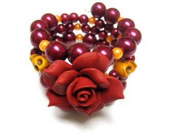 Crimson Red Day of the Dead Wrap Cuff Sugar Skull Bracelet