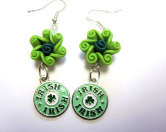 Saint Patricks Day Earrings Green Irish Shamrock And Rose Flower