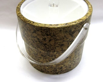 Ice Bucket Cork Georges Briard Signed Made In USA Mid Century Modern