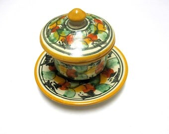 Mexican Pottery Tlaquepaque Lidded Bowl Saucer Green Yellow White Rust Collectible Dish Plate