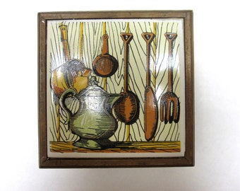 Vintage 60's Kitchen Look Cork Wood Coasters Set of 6 With Tile Top Case