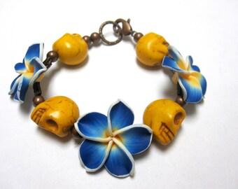 Day of the Dead Bracelet Sugar Skull Strand Flowers Mustard Yellow Cobalt Blue
