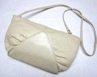 Vintage Designer Leather Purse Brio Cream Ivory Convertible Clutch