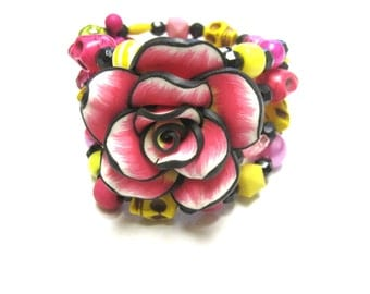 Sugar Skull Bracelet Day of the Dead Wrap Around Cuff Rose Yellow White Black Pink