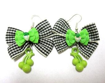 Cherry Earrings Bow Green Black White