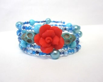 Day of the Dead Bracelet Sugar Skull Wrap Cuff Blue Red Rose