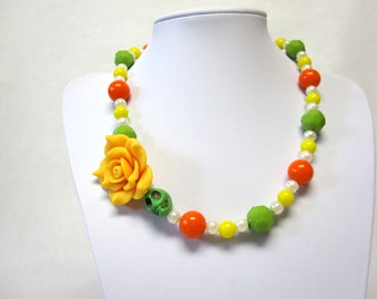 Off Set Sugar Skull Necklace Day of the Dead Coral Green Golden Yellow Rose White