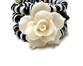 Day Of The Dead Bracelet Sugar Skull Rose Black White