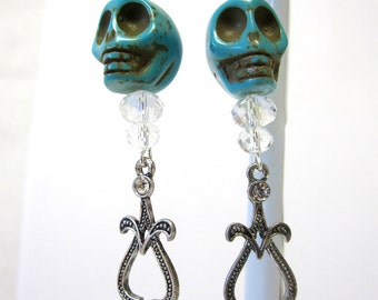Turquoise Blue Sugar Skull Earrings Day of the Dead Chandelier Dangle