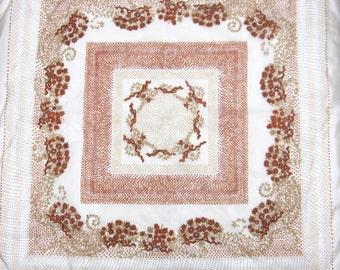 Brown Scarf Floral Motif Tan Flowers