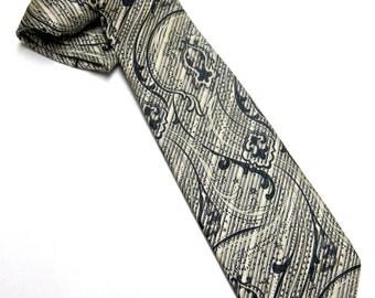 Black Tan Gray White Necktie Stripe Fleur De Lis