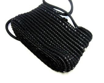 Black Purse Woven Handbag Hobo Tote