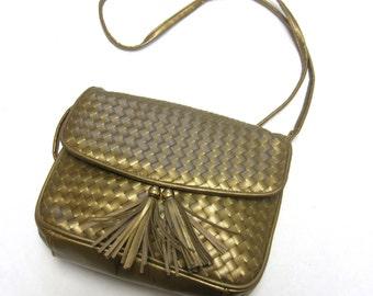 Metallic Gold Purse Handbag Tassel Woven Vegan