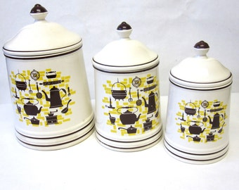 Coffee Themed Canisters White Brown Yellow Canister Set of 3 Early American Colonial