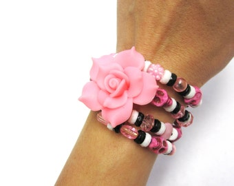 Pink Black Sugar Skull Bracelet Day of the Dead Wrap